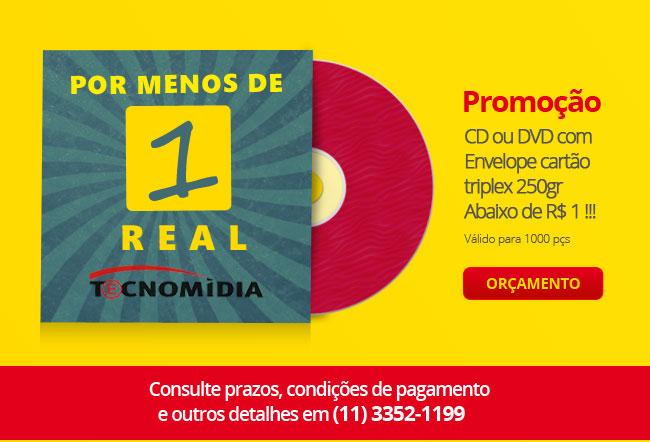 Promoção - CD ou DVD com envelope cartão triplex 250gr abaixo de 1 real