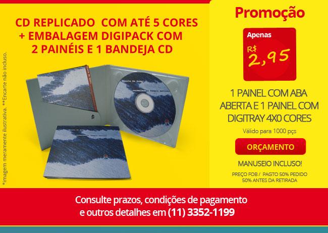 CD REPLICADO + EMBALAGEM DIGIPACK COM 2 PAINÉIS E 1 BANDEJA CD