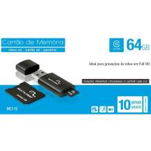 Kit 3x1 64GB  Pen Drive Micro SD e Cartão SD Multilaser