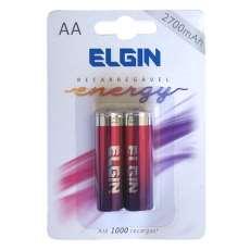 Pilha recarregável Elgin AA 2700 mah energy blister com 2 pilhas